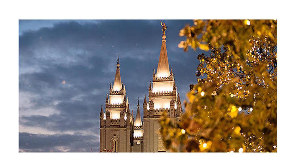 Salt Lake Temple with Christmas Lights